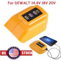USB Mobile Phones Li-ion Battery Charger Adapter for Dewalt 14.4V 18V 20V DCB090