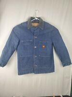Vtg 80s Wrangler Big Ben Blanket Lined Chore  Rancher Denim Jacket Mens Coat