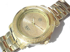 Iced Out Bling Bling Gold Tone Bracelet Techno Pave Men's Watch Item 4607