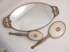 Vintage Gold Tone Cameo Dresser Vanity Set Mirror Hair Brush Tray