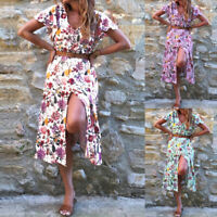 2021 ZANZEA Women Summer Plus Size Midi Dress Beach Club Party Floral Sundress