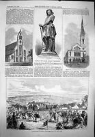 Old Antique Print 1865 Harvest Bywell Chapel Westminster Church Chieftain 19th