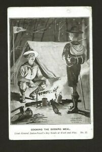 1908 - Boy Scout Postcard - Cooking The Evening Meal - Baden Powell - RARE