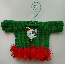 Green and Red Cat Lovers    MINI   Christmas Sweater   Ornament