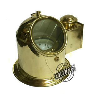 US Maritime Ship Yacht Binnacle Compass Tabletop Antique Brass Oil Lamp Nautical