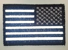 """(B31) Reversed REFLECTIVE BLACK & WHITE US FLAG 3"""" x 2"""" iron on patch (3688)"""