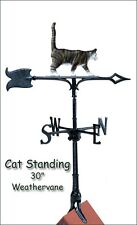 """Whitehall Cat 30"""" Color Weathervane with Rooftop Mount Weather Vane -Rust Proof!"""