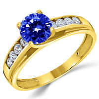 14K Solid Yellow Gold Lab Created Sapphire Solitaire Engagement Ring 1.00 Ct.