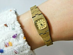 Vintage Women's Garrard Jewerly Incabloc Gold Tone Wristwatch Swiss Made 1k 68