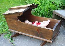Vintage Antique Primitive Baby Crib / Rocker Solid Wood Doll
