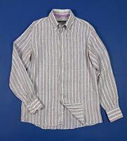 Andrea Bossi camicia a righe uomo usato L lino shirt used manica lunga T5362