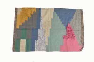Home Decor Kilim Area Floor Rug Jute Wool Shaggy Hand Knotted Geometric 4x6 Ft