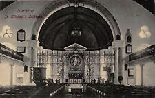BRIDGETOWN BARBADOS ST MICHAEL'S CATHEDRAL INTERIOR~ PHOTO POSTCARD 1910s