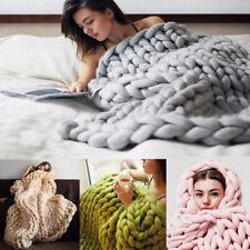 Handmade Chunky Knitted Blanket Wool Thick Line Yarn Merino Throw Home Decor Rug