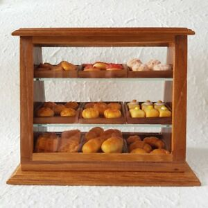 Dollhouse Miniatures Food Bakery Mixed Bread in Wooden Cabinet Showcase Handmade