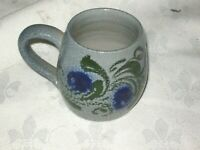 A Vintage Small Blue Salt Glaze Floral Decorated Stoneware Pottery Mug