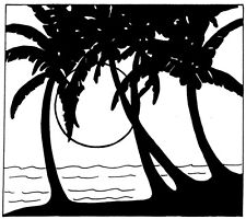 Unmounted Rubber Stamps, Palm Trees, Sunset, Ocean, Beach Scene, Scenic Stamps