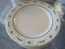 """4 Longaberger Woven Traditions Pottery Heritage Green 10"""" Dinner Plates-Usa"""