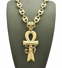 """New Gold PT EGYPTIAN ANKH CROSS Pendant w/ 12mm 30"""" Guci Chain Hip Hop Necklace"""