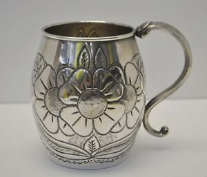 Antique late 1800's Repousse Hand Chased .900 SILVER Floral design Mug Cup