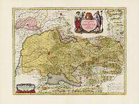 Old Vintage Brescia Region Italy decorative map Blaeu ca. 1655