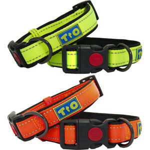 Premium Adjustable Reflective Nylon and Neoprene Dog Collar by Toto & Otis