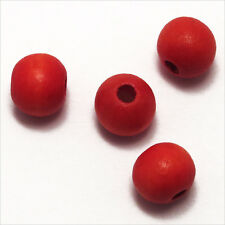 Lot de 50 Perles rondes en Bois 10mm Rouge