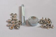 100 Silver 10mm Tubular Rivets Studs + Tool Setter Kit for Punk, Biker Craft DIY