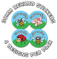 144 X ortografia Awards 30mm Bambini Adesivi Ricompensa: scuole, insegnanti-Carino Bug
