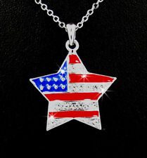 Red White Blue USA Flag Star Austrian Crystal Silver Pendant Necklace America
