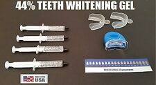 Teeth Whitening 44% Carbamide Peroxide 4 Syringe Kit Blue UV Light Mouth Guard !