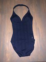 NWOT Nautica Women's Size 8 Swimsuit One Piece Halter Navy Blue Striped