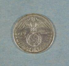 1938-F  NAZI GERMANY 2 MARK COIN - SWASTIKA - SILVER