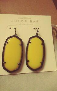 New Kendra Scott Danielle Gunmetal Yellow Earrings banana color,