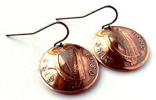 Ireland Coin Earrings Irish Harp Copper Colored Jewelry Celtic Woman Gift