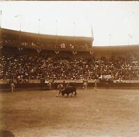 Corrida Torero Spagna 1909 Foto Stereo PL58L22n1 Placca Lente Vintage