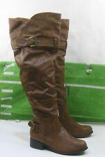 "new ladies Tan 1.5""Block Heel Round Toe Long Over  Knee Sexy Boots Size 7"