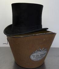 Antiker Hut Zylinderhut mit Hutbox Top Hat Dachshaar Zylinder 56,5cm ~1900