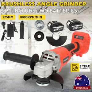 AU 125mm Cordless Angle Grinder Brushless with two 21V 2.0Ah Li-ion batteries