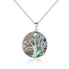 Sevil 18K White Gold Plated Created Abalone Pearl Tree of Life Pendant Necklace