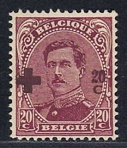 1918 BELGIUM 20c+20c Red Cross Albert I with the rare error: violet instead red