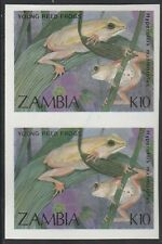 Zambia (1914) - 1989 Reed Frogs IMPERF PAIR unmounted mint