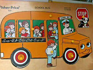 Vintage Fisher Price School Bus #515 Wooden Jigsaw Puzzle Peg 13 pieces Complete