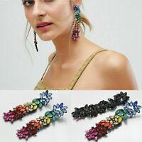 Women Crystal Rhinestone Tassel Ear Stud Long Dangle Drop Fringed Earrings