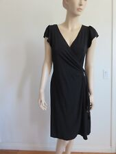 STUDIO M WOMAN SIZE S BLACK CROSS OVER WRAP TIE WAIST SHORT SLEEVE SHIFT DRESS