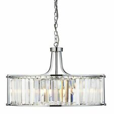 Searchlight Victoria 5 Light Drum Pendant Chrome With Crystal Glass