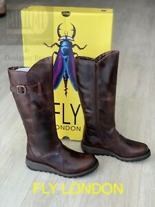 🆕Fly London Mol 2 Brown Rug Leather Boots Size Uk 6 BRAND NEW WITH BOX