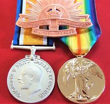 Ww1 Australian British Commonwealth Medal Pair & Hat Badge Group Replica ANZAC