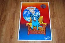 George Rodrigue Blue Dog Strato Lounger Split Font Silkscreen Print Signed Art