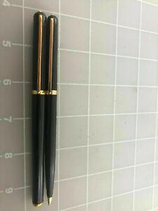 Elysee Set Black  & Gold Rollerball Pen & Ballpoint Pen  In Box *